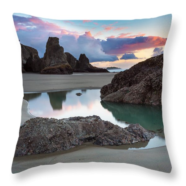 Bandon By The Sea Throw Pillow by Robert Bynum