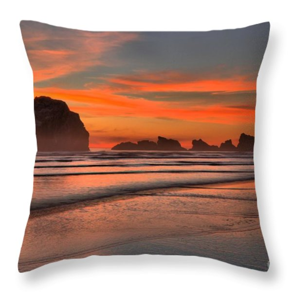 Bandon Sunset And Surf Throw Pillow by Adam Jewell