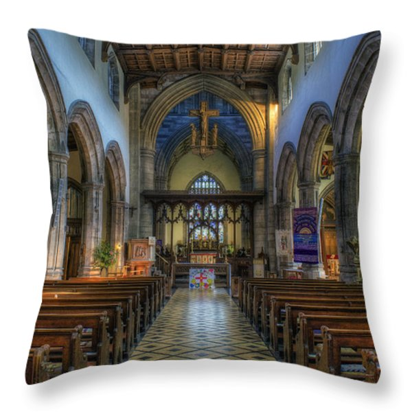 Bangor Cathedral V2 Throw Pillow by Ian Mitchell