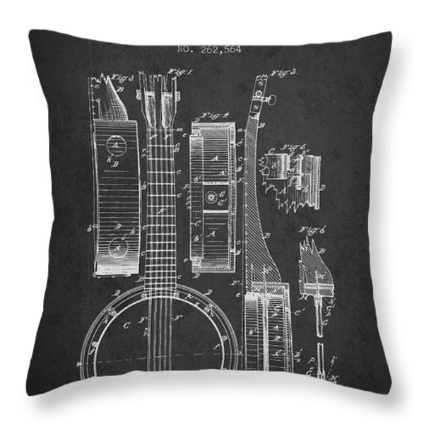 Banjo patent Drawing from 1882 Dark Throw Pillow by Aged Pixel