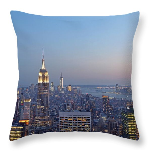 Bank of America and Empire State Building Throw Pillow by Juergen Roth