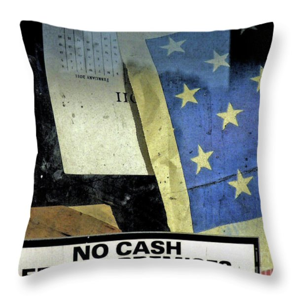 BANKRUPT AMERICA Throw Pillow by Joe Jake Pratt