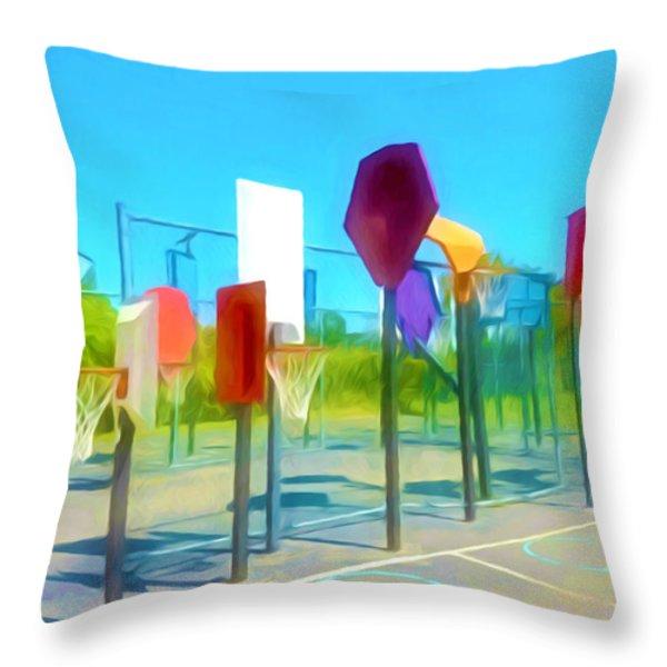 Bankshot Basketball 1 Throw Pillow by Lanjee Chee