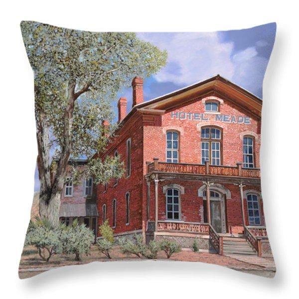 Bannock-Montana-hotel Meade Throw Pillow by Guido Borelli