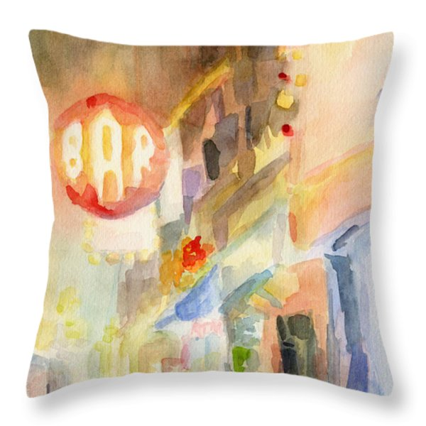 Bar 8th Avenue Watercolor Painting Of New York Throw Pillow by Beverly Brown Prints