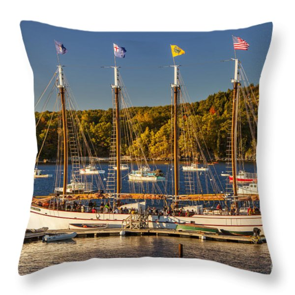 Bar Harbor Schooner Throw Pillow by Brian Jannsen