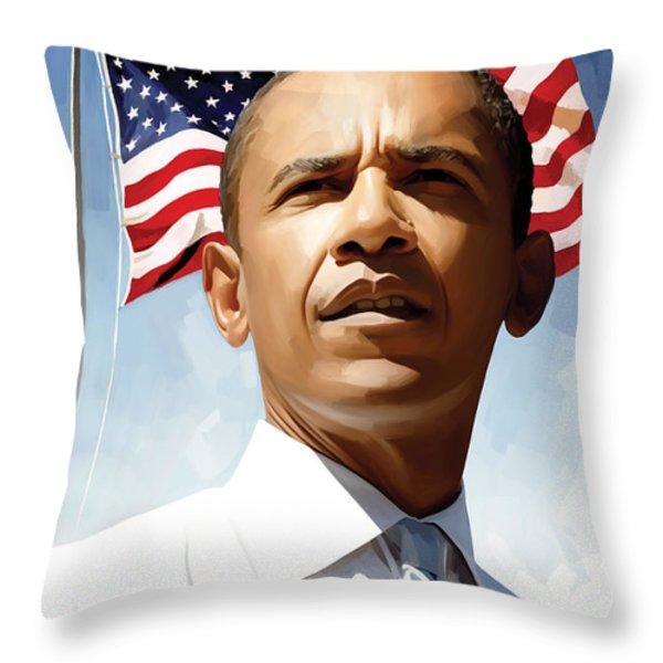 Barack Obama Artwork 1 Throw Pillow by Sheraz A