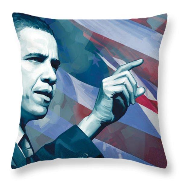 Barack Obama Artwork 2 Throw Pillow by Sheraz A
