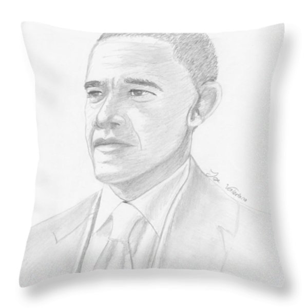 Barack Obama Throw Pillow by Jose Valeriano