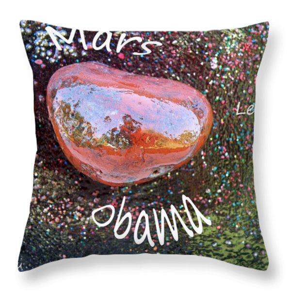 Barack Obama Mars Throw Pillow by Augusta Stylianou