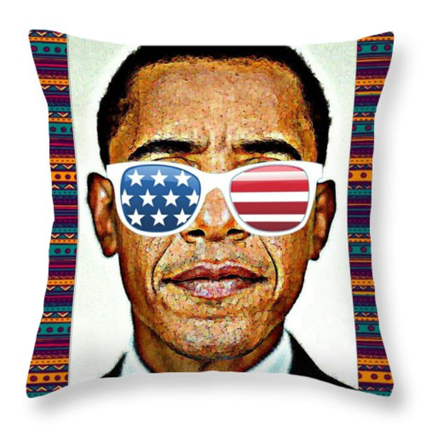 Barack Obama Throw Pillow by Nuno Marques