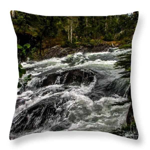 Baranof River Throw Pillow by Robert Bales