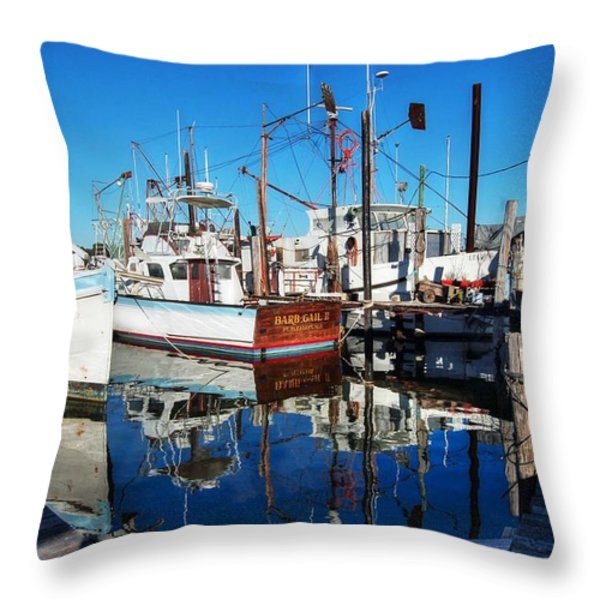 Barb Gail Harbor Corner Throw Pillow by Michael Thomas