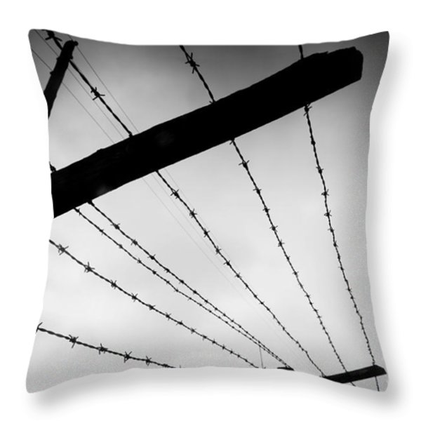 Barbed Wire Fence Throw Pillow by Michal Bednarek