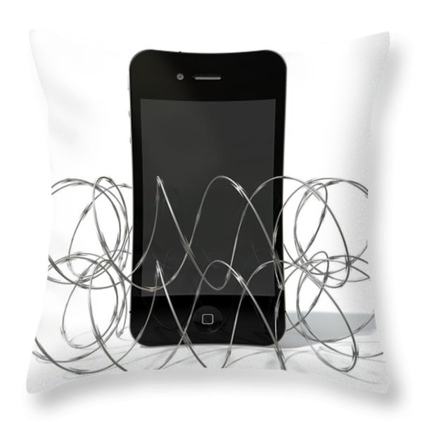 Barbed Wire Protected Smartphone Throw Pillow by Allan Swart