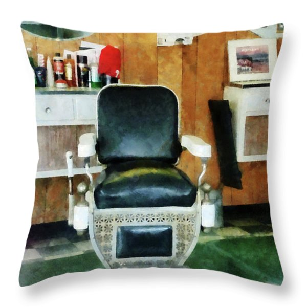 Barber - Barber Chair Front View Throw Pillow by Susan Savad