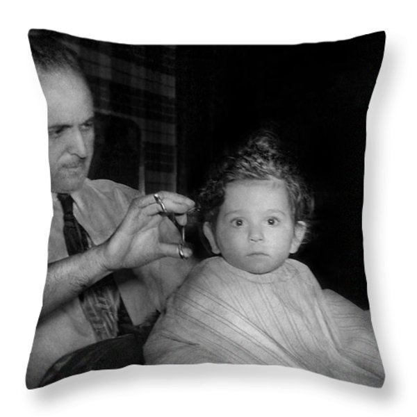 Barber - First Haircut Throw Pillow by Mike Savad