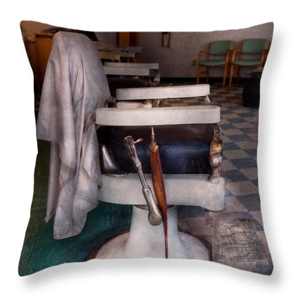Barber - Frenchtown Nj - We Have Some Free Seats  Throw Pillow by Mike Savad