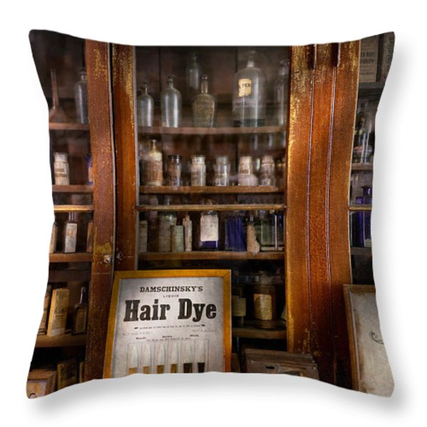 Barber - Hair Dye Throw Pillow by Mike Savad