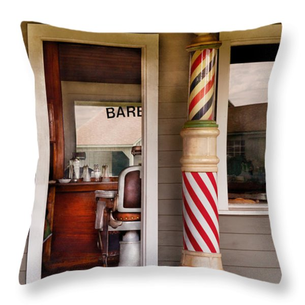 Barber - I Need A Hair Cut Throw Pillow by Mike Savad