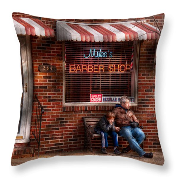 Barber - Metuchen Nj - Waiting For Mike Throw Pillow by Mike Savad