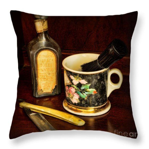 BARBER - SHAVING MUG AND TOILET WATER Throw Pillow by Paul Ward