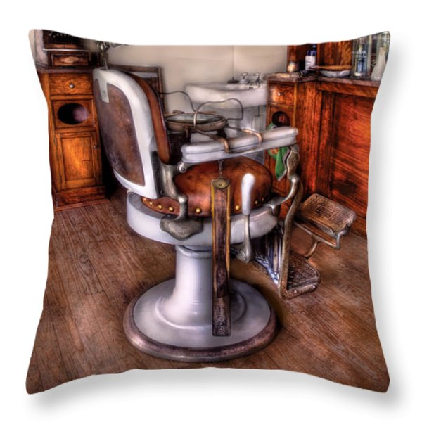 Barber - The Barber Chair Throw Pillow by Mike Savad