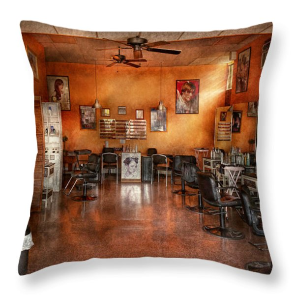 Barber - Union NJ - The modern salon  Throw Pillow by Mike Savad