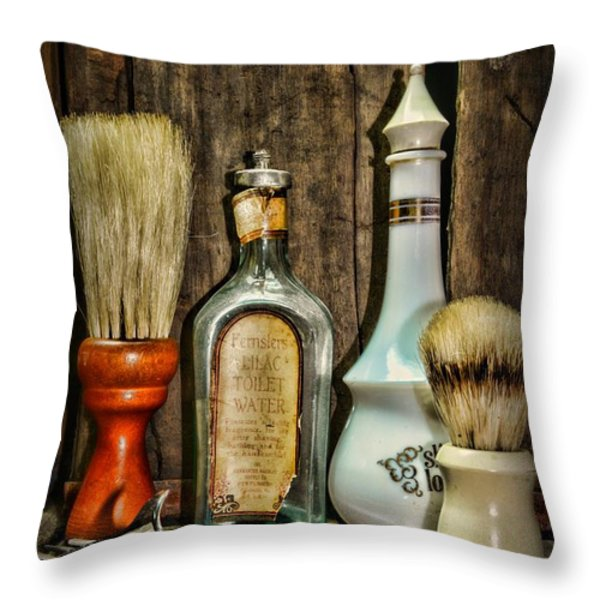 Barber - Vintage Barber Bottles Throw Pillow by Paul Ward