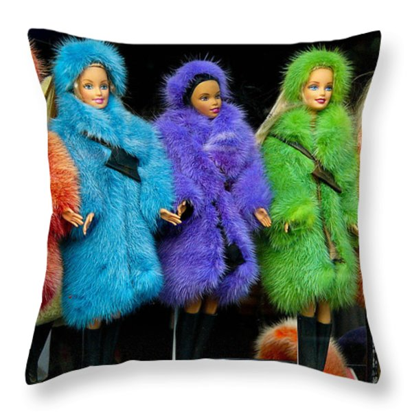 Barbie Dolls in Colored Fur Coats Throw Pillow by Amy Cicconi