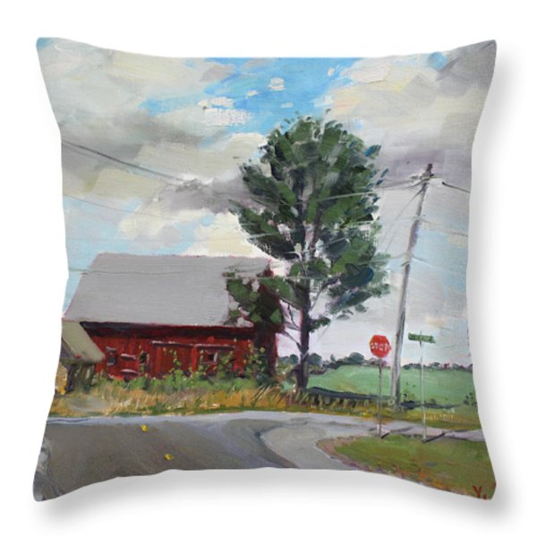 Barn by Lockport Rd Throw Pillow by Ylli Haruni