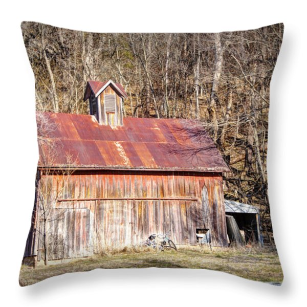 Barn by the Bluffs Throw Pillow by Cricket Hackmann