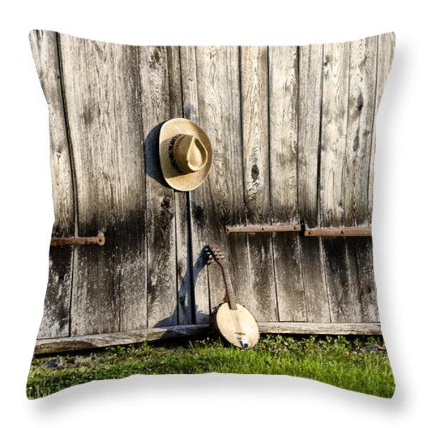 Barn Door and Banjo Mandolin Throw Pillow by Bill Cannon