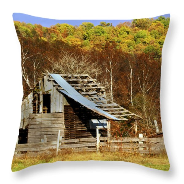 Barn in Fall Throw Pillow by Marty Koch