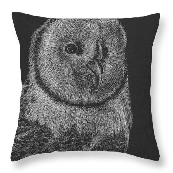 Barn Owl Throw Pillow by Lawrence Tripoli