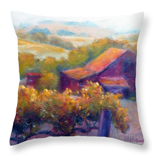 Barn Vineyard Throw Pillow by Carolyn Jarvis