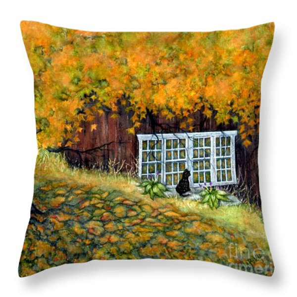 Barn window Reflections Throw Pillow by Janine Riley