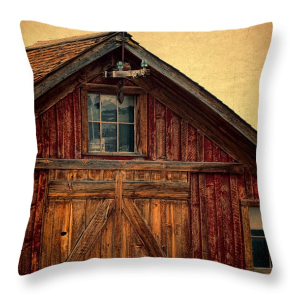 Barn with Weathervane Throw Pillow by Jill Battaglia