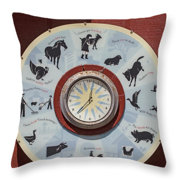 Barn yard clock Throw Pillow by Garry Gay