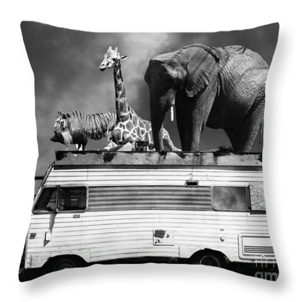 Barnum And Bailey Goes On A Road Trip 5d22705 Black And White Throw Pillow by Wingsdomain Art and Photography