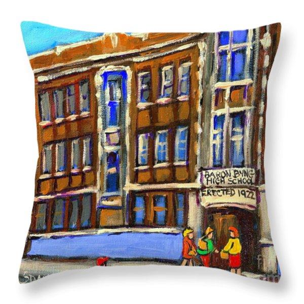 BARON BYNG HIGH SCHOOL 4251 ST. URBAIN STREET PLATEAU MONTREAL CITY  SCENE CAROLE SPANDAU MONTREAL A Throw Pillow by CAROLE SPANDAU
