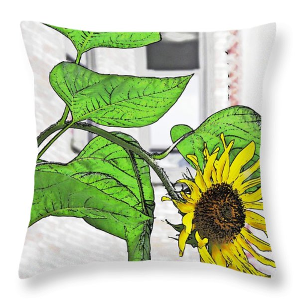 Barrio Sunflower Throw Pillow by Sarah Loft