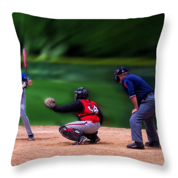 Baseball Batter Up Throw Pillow by Thomas Woolworth