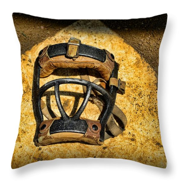Baseball Catchers Mask Vintage  Throw Pillow by Paul Ward