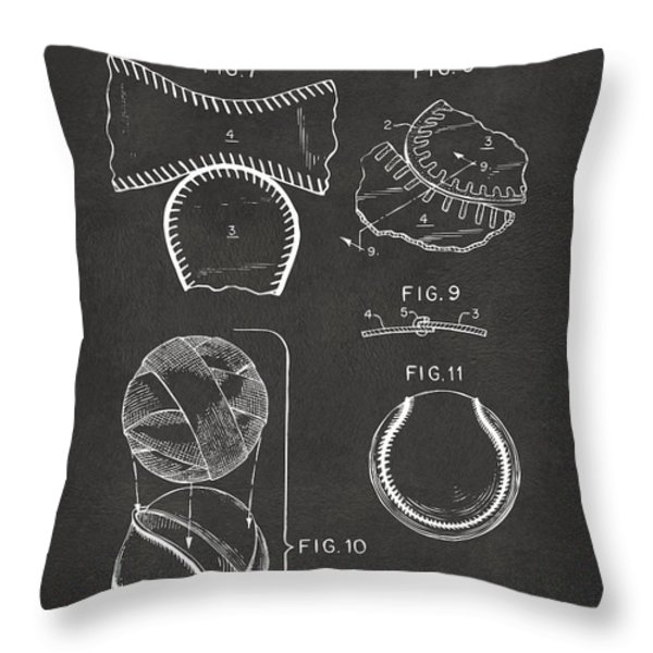 Baseball Construction Patent 2 - Gray Throw Pillow by Nikki Marie Smith
