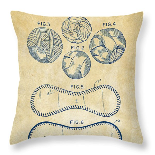 Baseball Construction Patent - Vintage Throw Pillow by Nikki Marie Smith