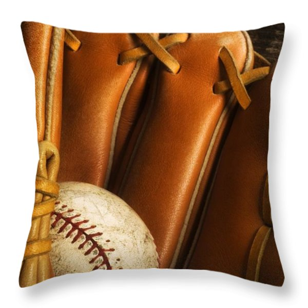 Baseball Glove And Baseball Throw Pillow by Chris Knorr