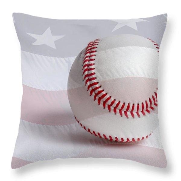 Baseball Throw Pillow by Heidi Smith