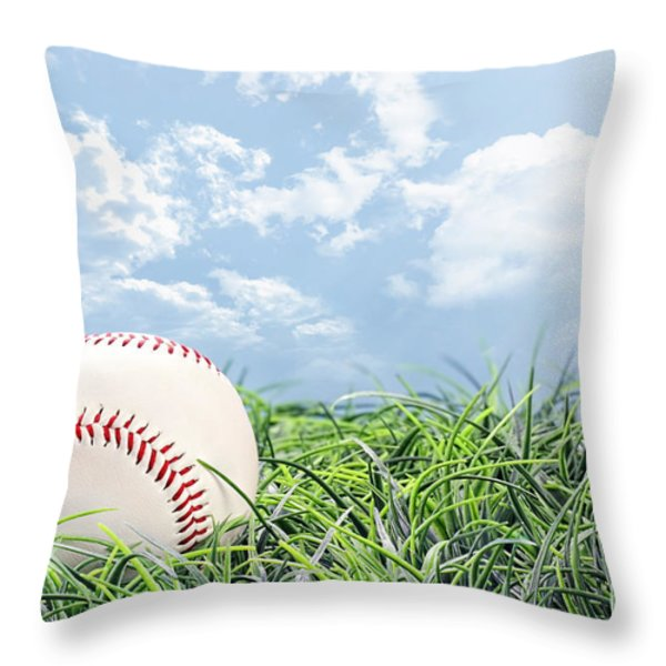 Baseball In Grass Throw Pillow by Stephanie Frey