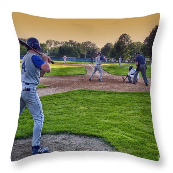 Baseball On Deck Circle Throw Pillow by Thomas Woolworth
